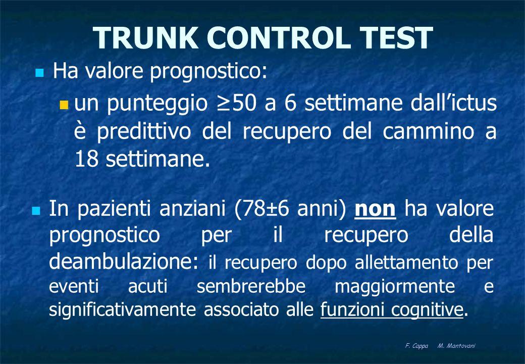 TRUNK CONTROL TEST Ha valore prognostico: un punteggio ≥50 a 6 settimane dall'ictus è predittivo del recupero del cammino a 18 settimane.