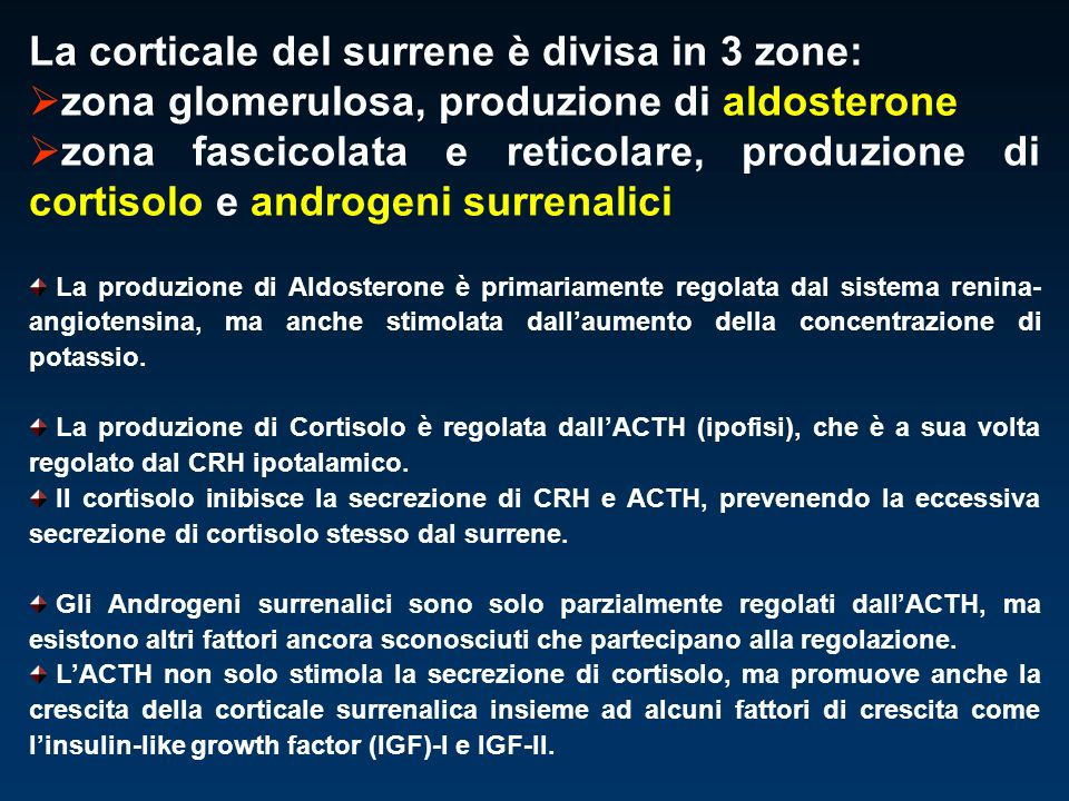 La corticale del surrene è divisa in 3 zone: