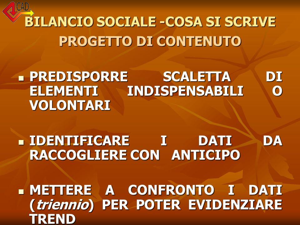 BILANCIO SOCIALE -COSA SI SCRIVE