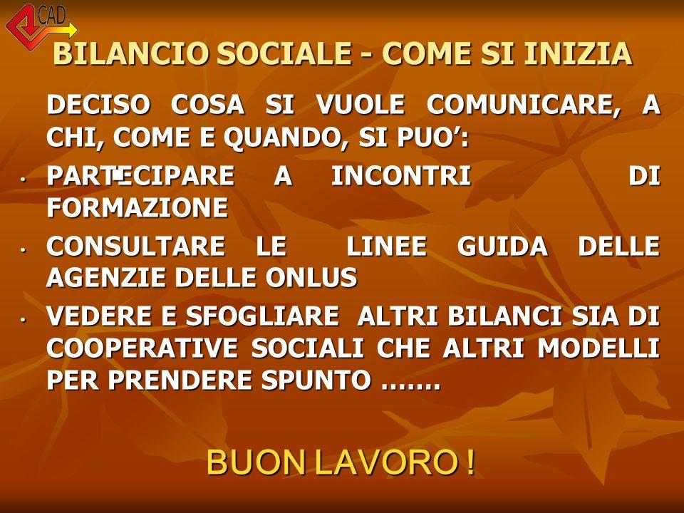 BILANCIO SOCIALE - COME SI INIZIA