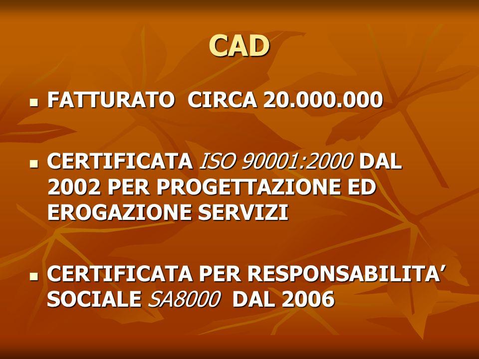 CAD FATTURATO CIRCA 20.000.000. CERTIFICATA ISO 90001:2000 DAL 2002 PER PROGETTAZIONE ED EROGAZIONE SERVIZI.
