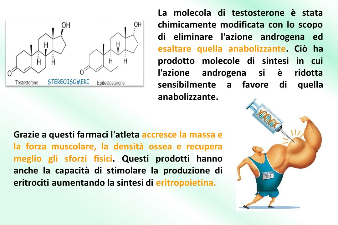 La molecola di testosterone è stata chimicamente modificata con lo scopo di eliminare l azione androgena ed esaltare quella anabolizzante. Ciò ha prodotto molecole di sintesi in cui l azione androgena si è ridotta sensibilmente a favore di quella anabolizzante.
