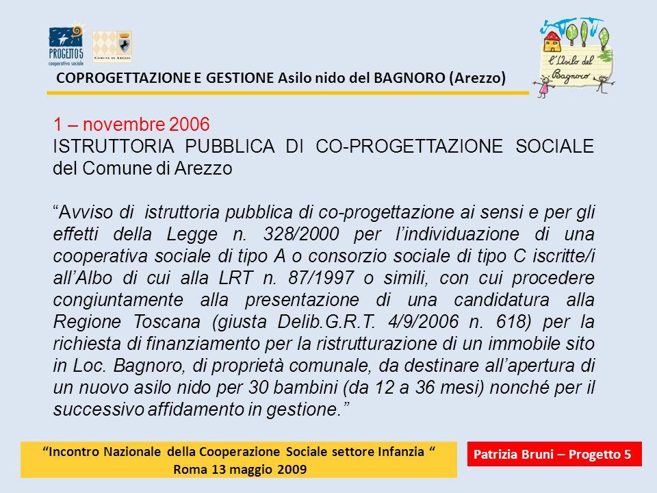 COPROGETTAZIONE E GESTIONE Asilo nido del BAGNORO (Arezzo)