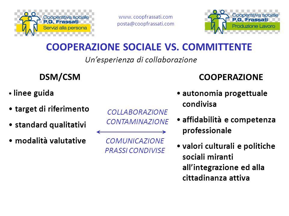 COOPERAZIONE SOCIALE VS. COMMITTENTE