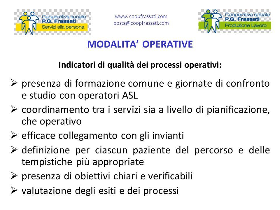 Indicatori di qualità dei processi operativi: