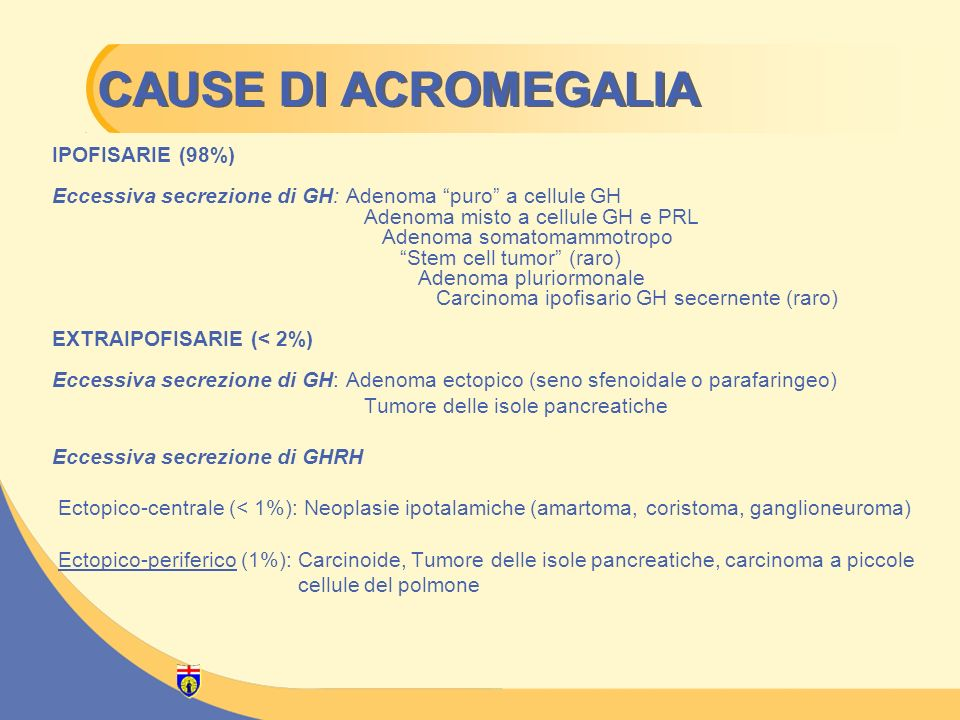 CAUSE DI ACROMEGALIA IPOFISARIE (98%)