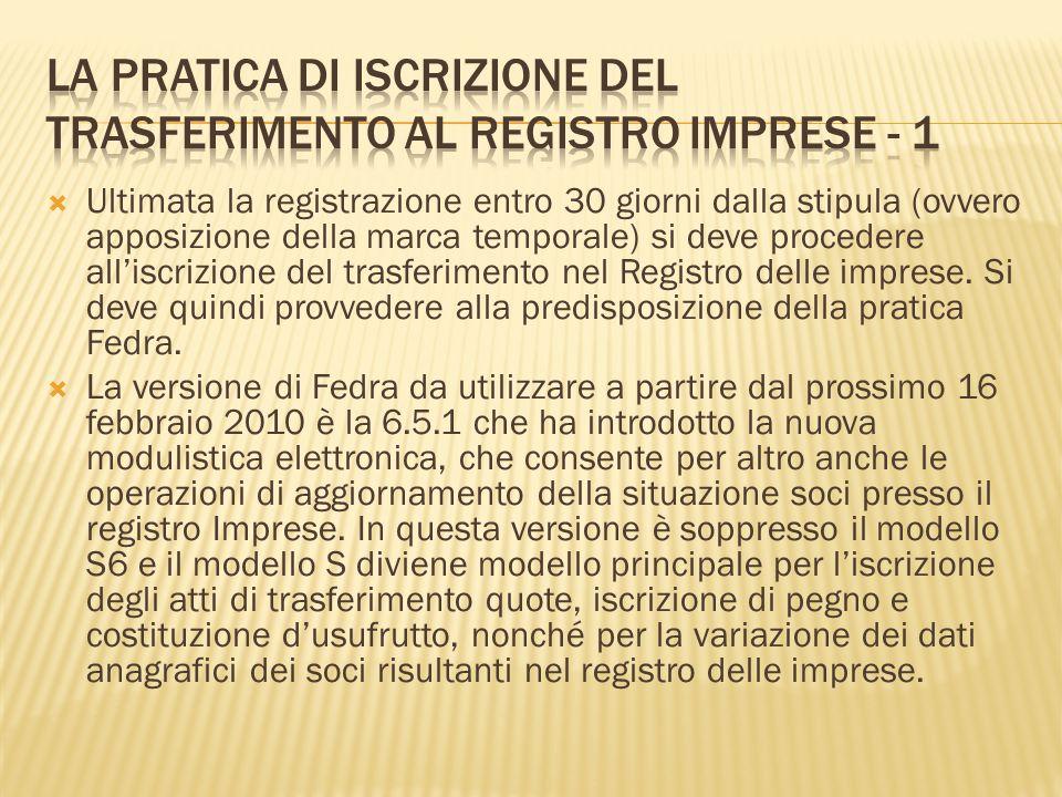 La pratica di iscrizione del trasferimento al registro imprese - 1
