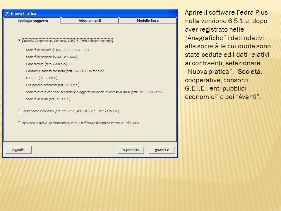 Aprire il software Fedra Plus nella versione 6. 5. 1