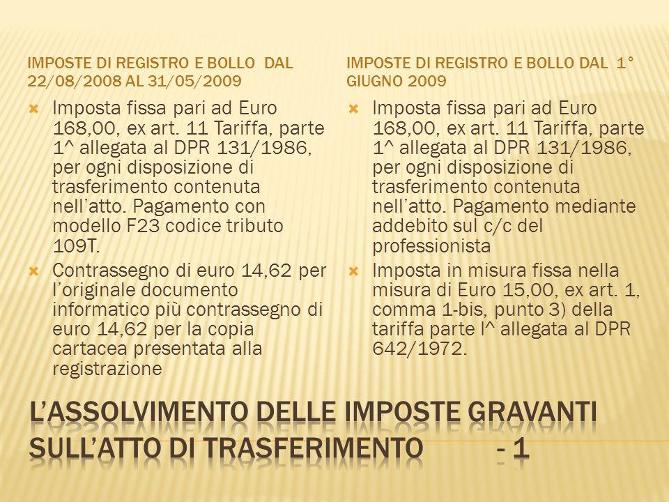 L'assolvimento delle imposte gravanti sull'atto di trasferimento - 1