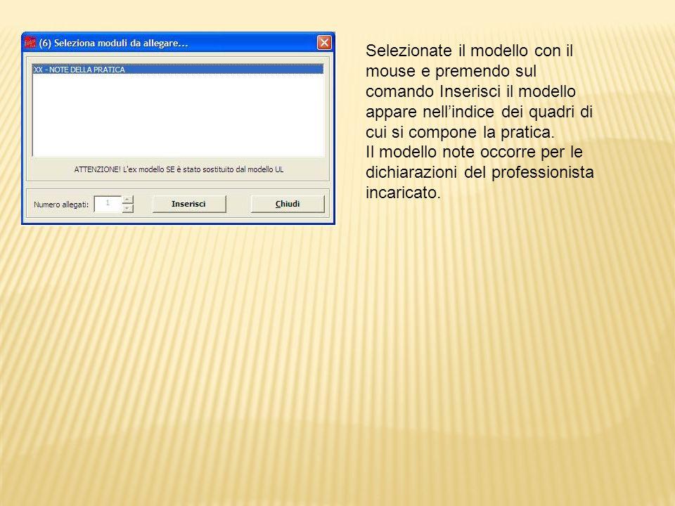Selezionate il modello con il mouse e premendo sul comando Inserisci il modello appare nell'indice dei quadri di cui si compone la pratica.