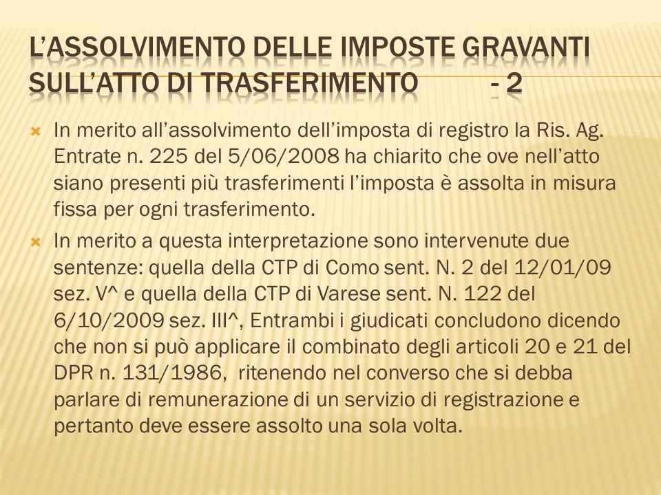 L'assolvimento delle imposte gravanti sull'atto di trasferimento - 2