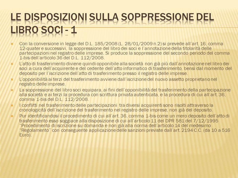 Le disposizioni sulla soppressione del libro soci - 1