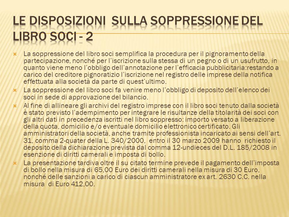 Le disposizioni sulla soppressione del libro soci - 2