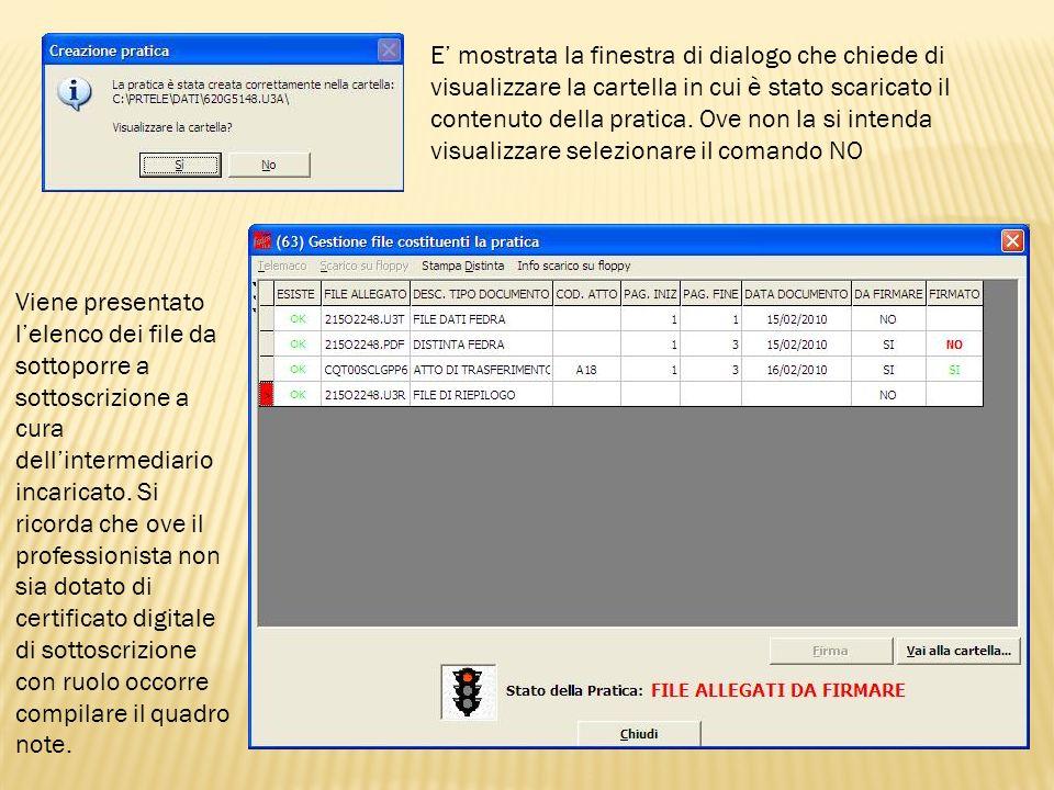 E' mostrata la finestra di dialogo che chiede di visualizzare la cartella in cui è stato scaricato il contenuto della pratica. Ove non la si intenda visualizzare selezionare il comando NO