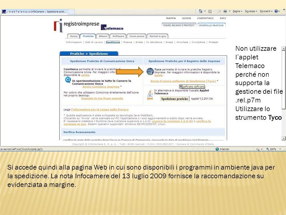 Non utilizzare l'applet Telemaco perché non supporta la gestione dei file .rel.p7m