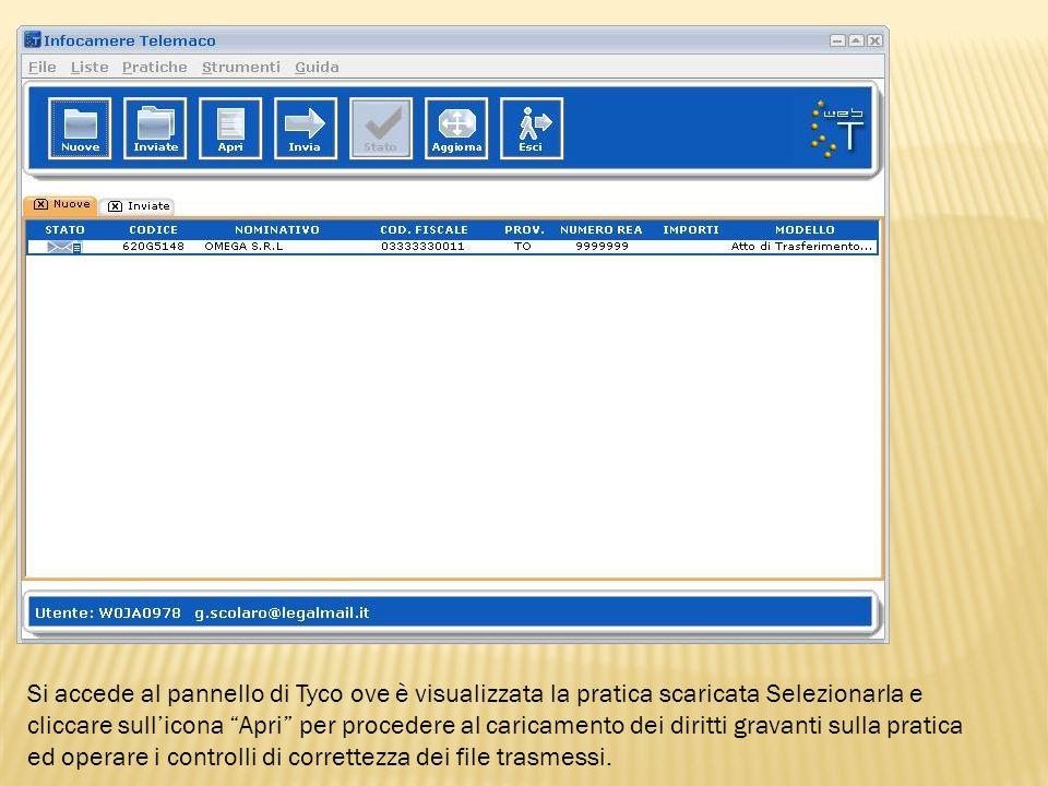 Si accede al pannello di Tyco ove è visualizzata la pratica scaricata Selezionarla e cliccare sull'icona Apri per procedere al caricamento dei diritti gravanti sulla pratica ed operare i controlli di correttezza dei file trasmessi.
