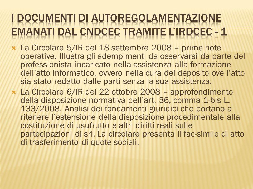 I documenti di autoregolamentazione emanati dal CNDCEC tramite l'IRDCEC - 1