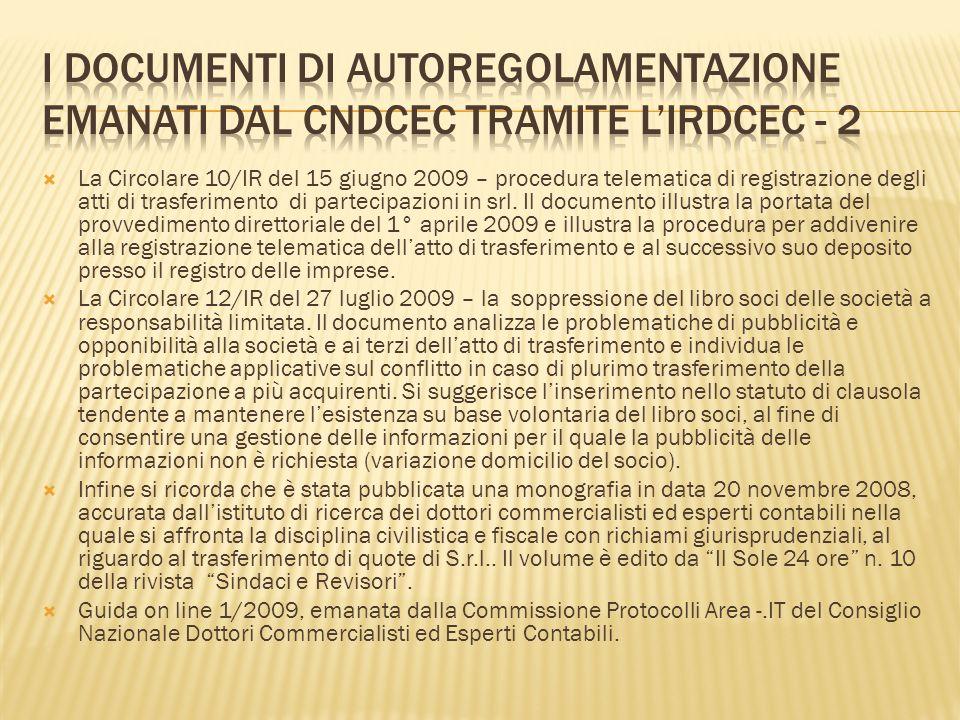 I documenti di autoregolamentazione emanati dal CNDCEC tramite l'IRDCEC - 2