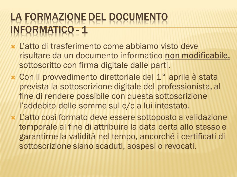 La formazione del documento informatico - 1