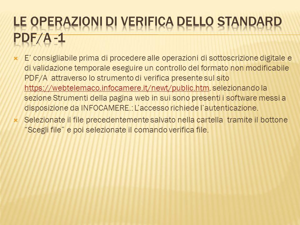 Le operazioni di verifica dello standard pdf/A -1