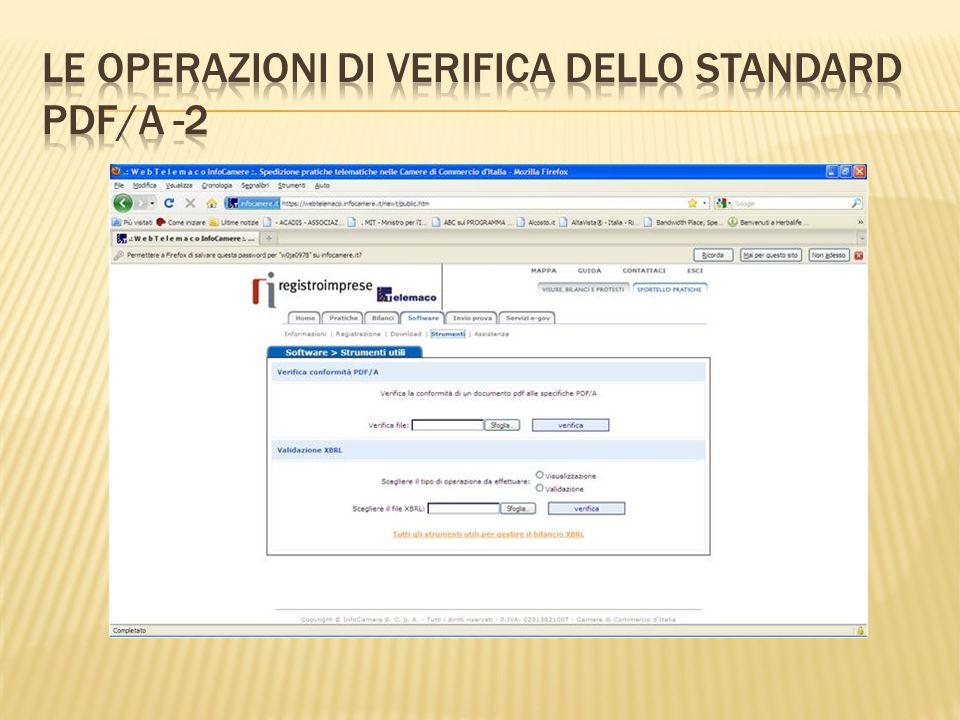 Le operazioni di verifica dello standard pdf/A -2