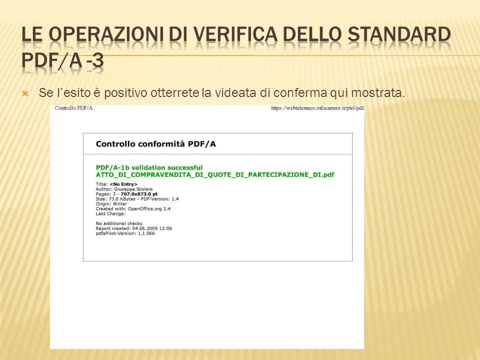 Le operazioni di verifica dello standard pdf/A -3
