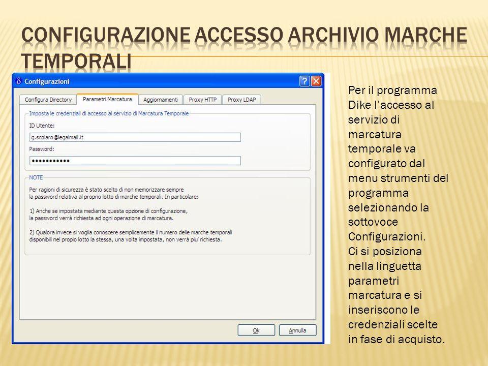 Configurazione accesso archivio marche temporali