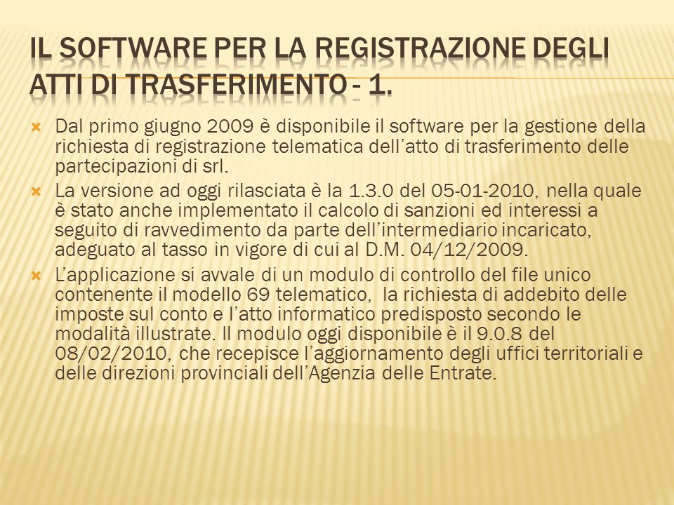 Il software per la registrazione degli atti di trasferimento - 1.