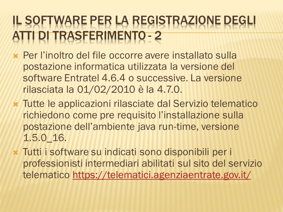 Il software per la registrazione degli atti di trasferimento - 2