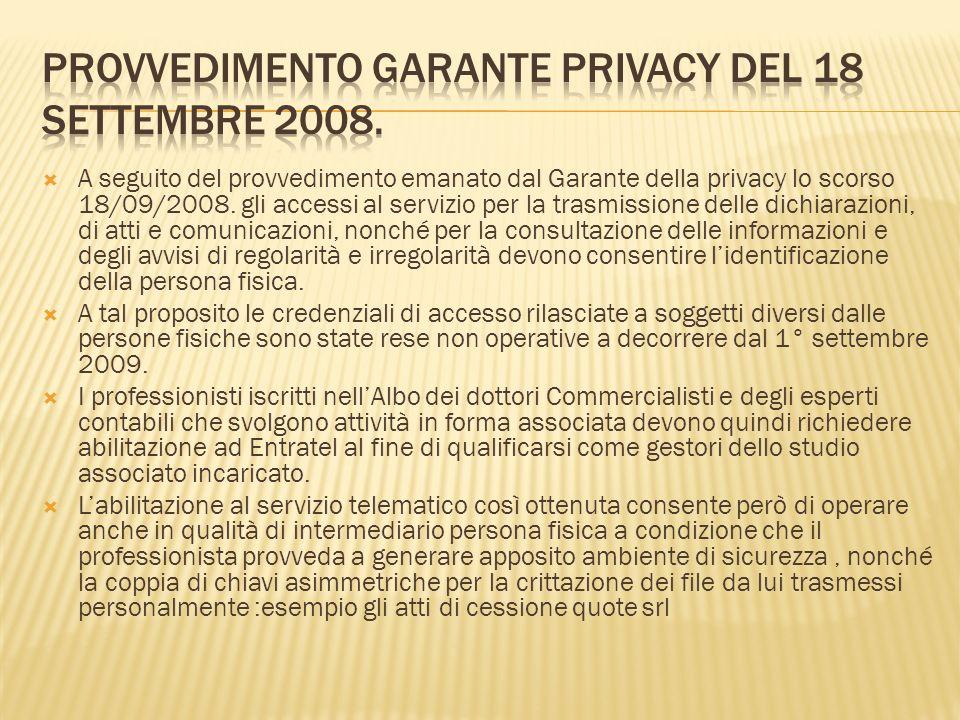 Provvedimento garante privacy del 18 settembre 2008.