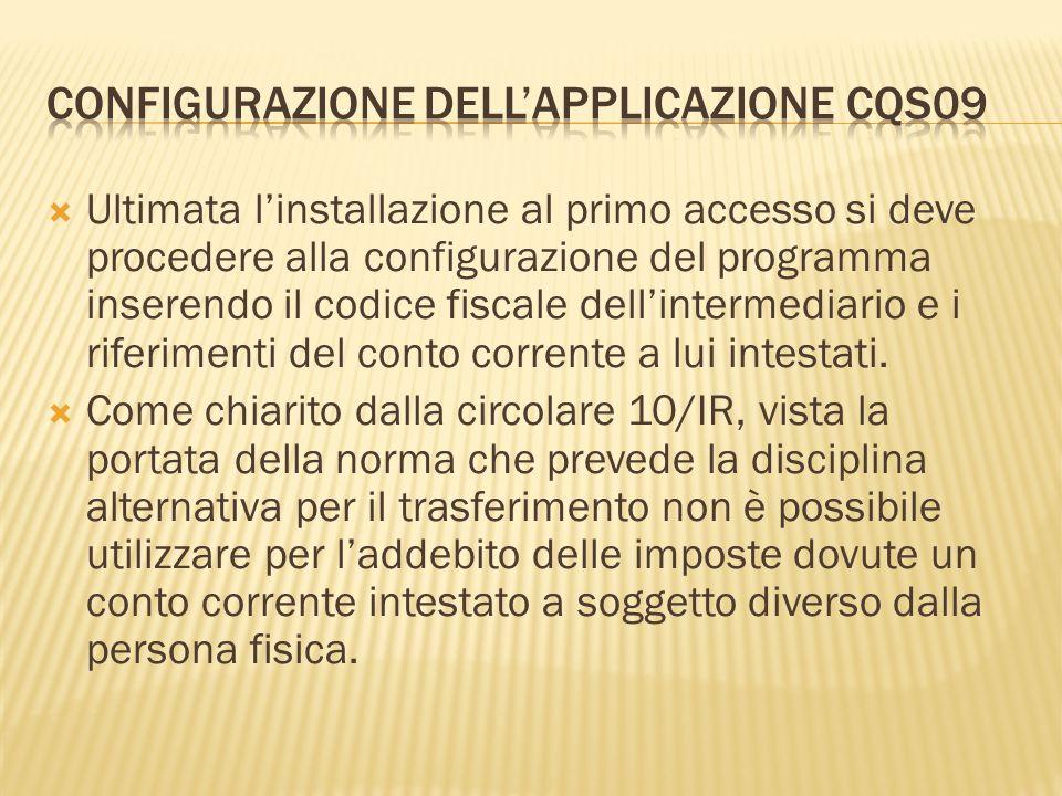 Configurazione dell'applicazione CQS09