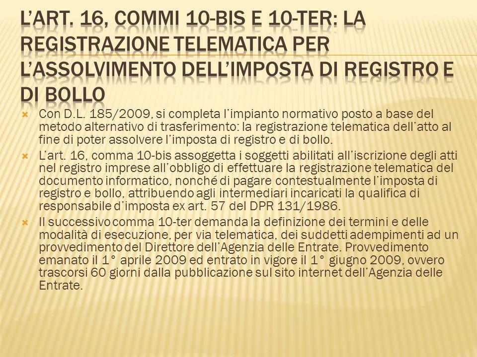 L'art. 16, commi 10-bis e 10-ter: la registrazione telematica per l'assolvimento dell'imposta di registro e di bollo