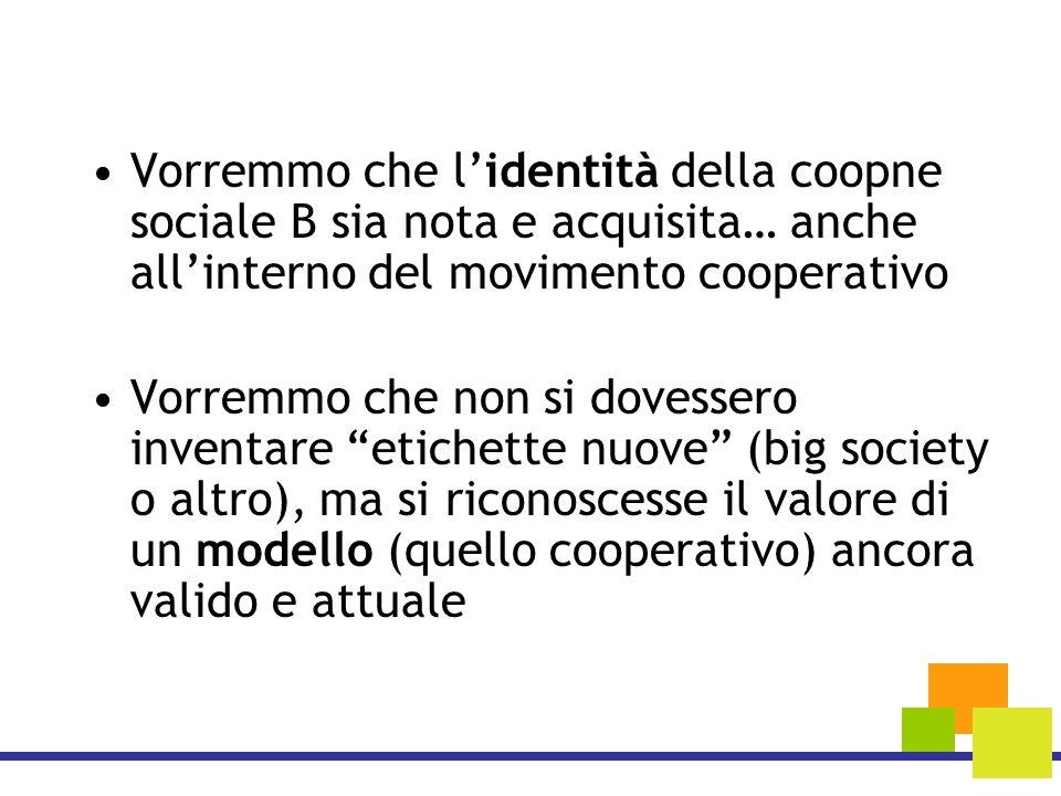 Vorremmo che l'identità della coopne sociale B sia nota e acquisita… anche all'interno del movimento cooperativo