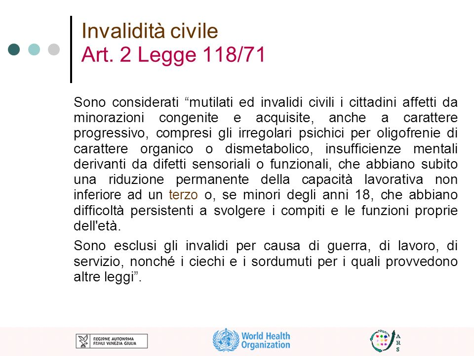Invalidità civile Art. 2 Legge 118/71