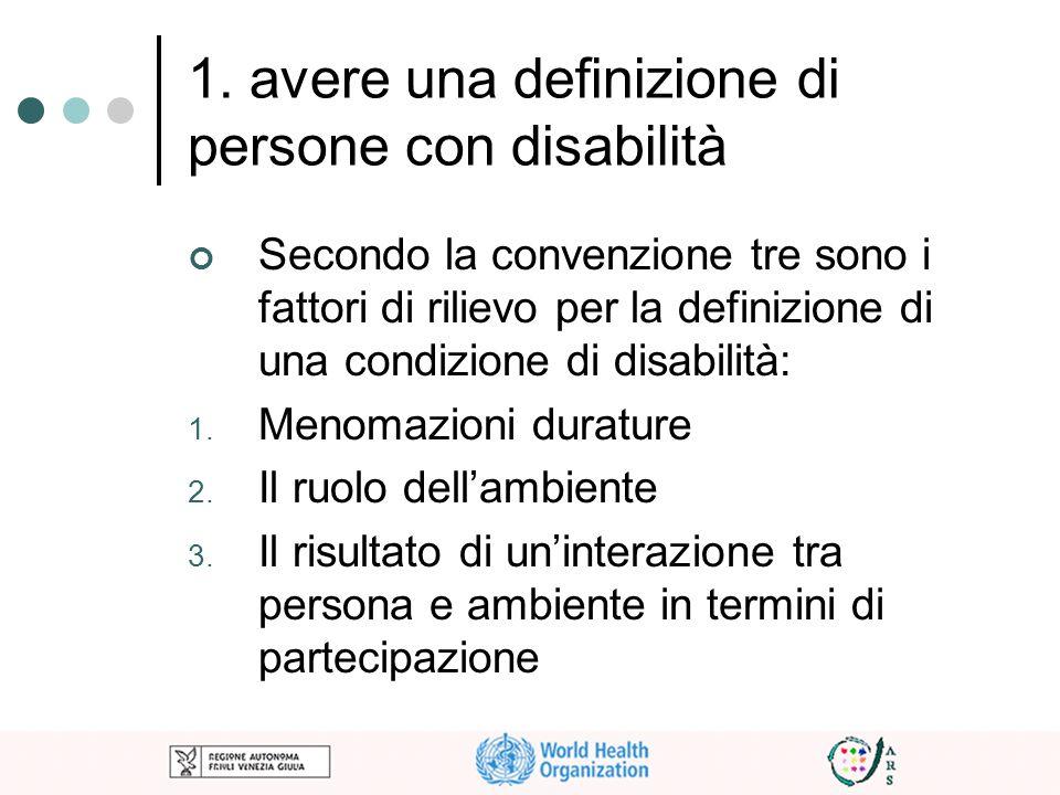1. avere una definizione di persone con disabilità