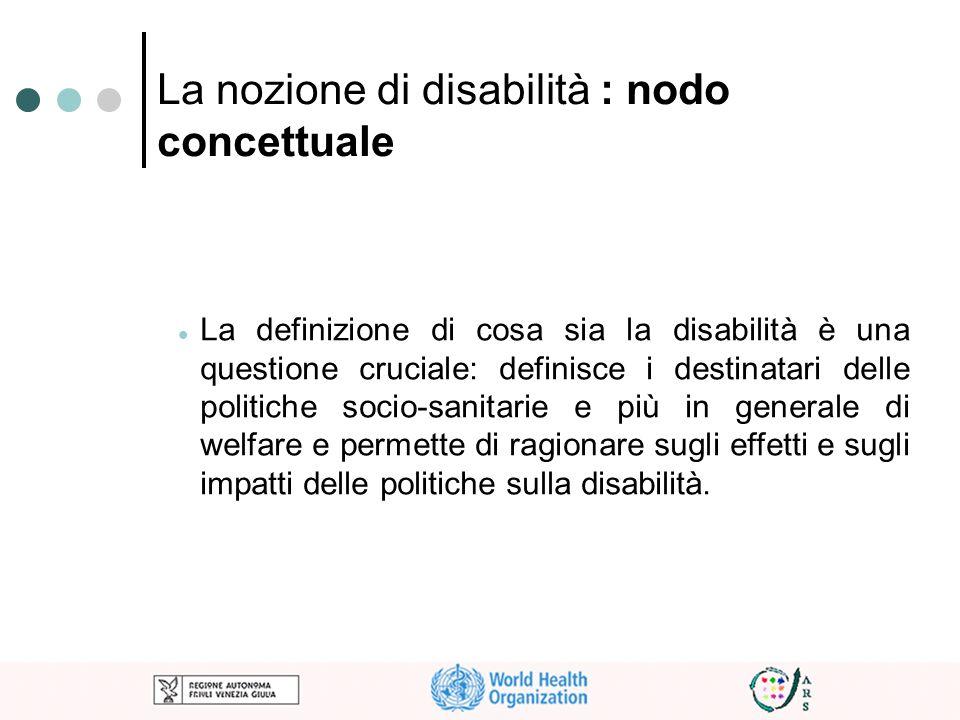 La nozione di disabilità : nodo concettuale