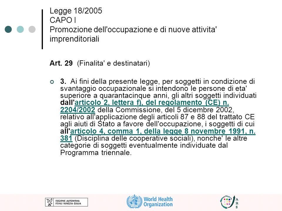 Legge 18/2005 CAPO I Promozione dell occupazione e di nuove attivita imprenditoriali