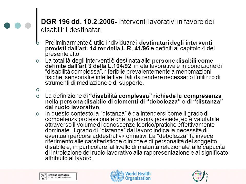 DGR 196 dd. 10.2.2006- Interventi lavorativi in favore dei disabili: I destinatari