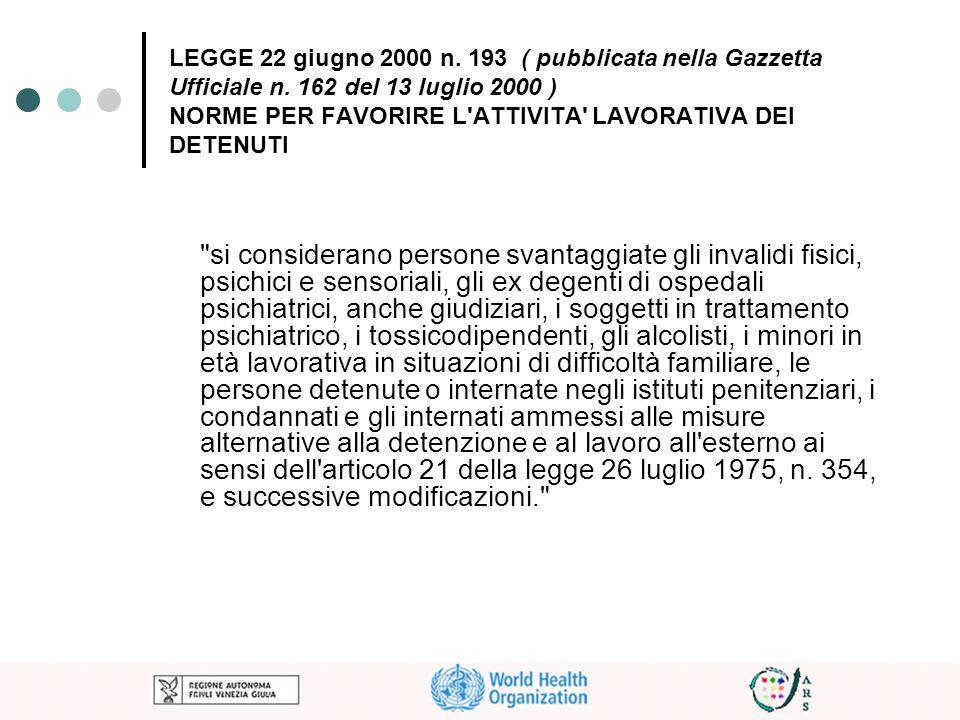 LEGGE 22 giugno 2000 n. 193 ( pubblicata nella Gazzetta Ufficiale n