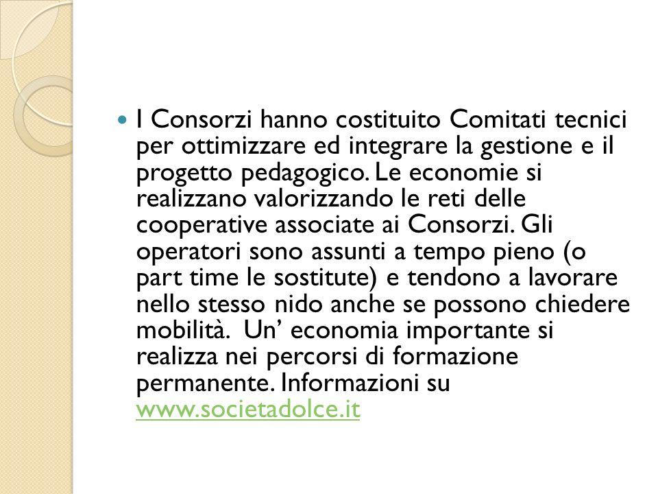 I Consorzi hanno costituito Comitati tecnici per ottimizzare ed integrare la gestione e il progetto pedagogico.