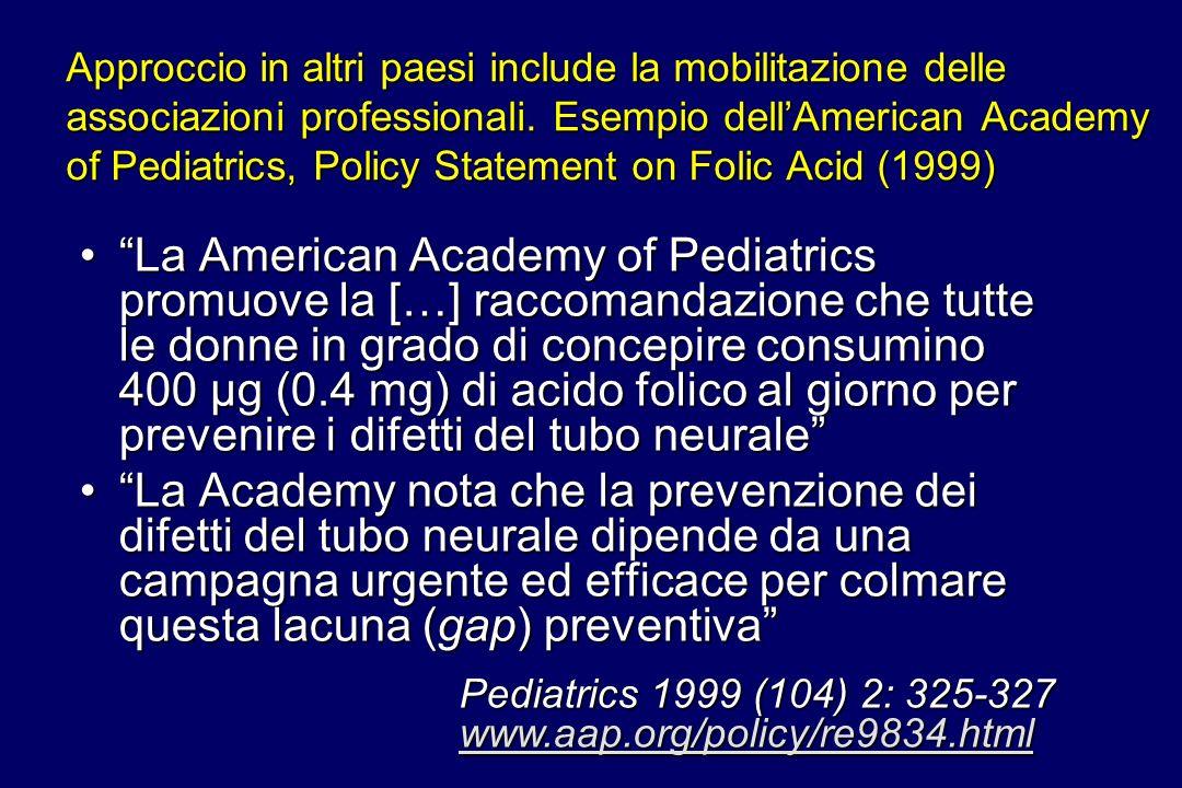 Approccio in altri paesi include la mobilitazione delle associazioni professionali. Esempio dell'American Academy of Pediatrics, Policy Statement on Folic Acid (1999)