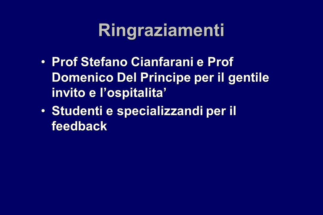 Ringraziamenti Prof Stefano Cianfarani e Prof Domenico Del Principe per il gentile invito e l'ospitalita'