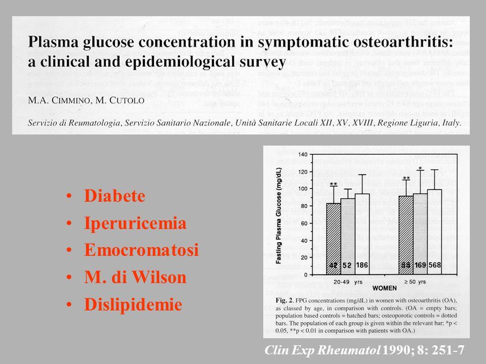 Diabete Iperuricemia Emocromatosi M. di Wilson Dislipidemie