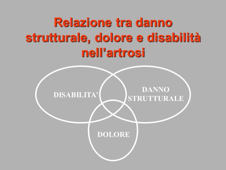 Relazione tra danno strutturale, dolore e disabilità nell'artrosi