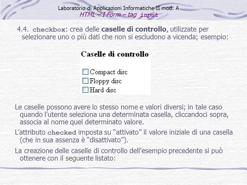 Laboratorio di Applicazioni Informatiche II mod