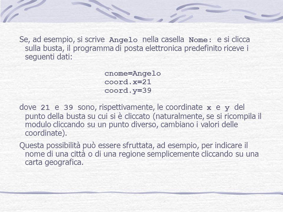 Se, ad esempio, si scrive Angelo nella casella Nome: e si clicca sulla busta, il programma di posta elettronica predefinito riceve i seguenti dati:
