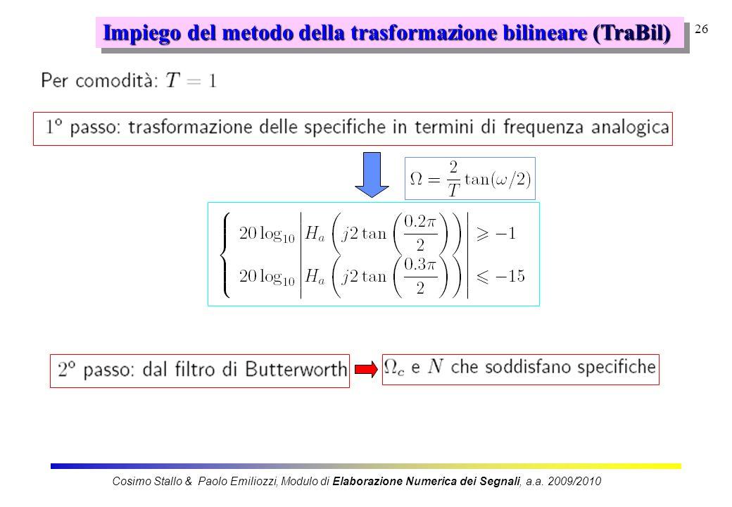Impiego del metodo della trasformazione bilineare (TraBil)