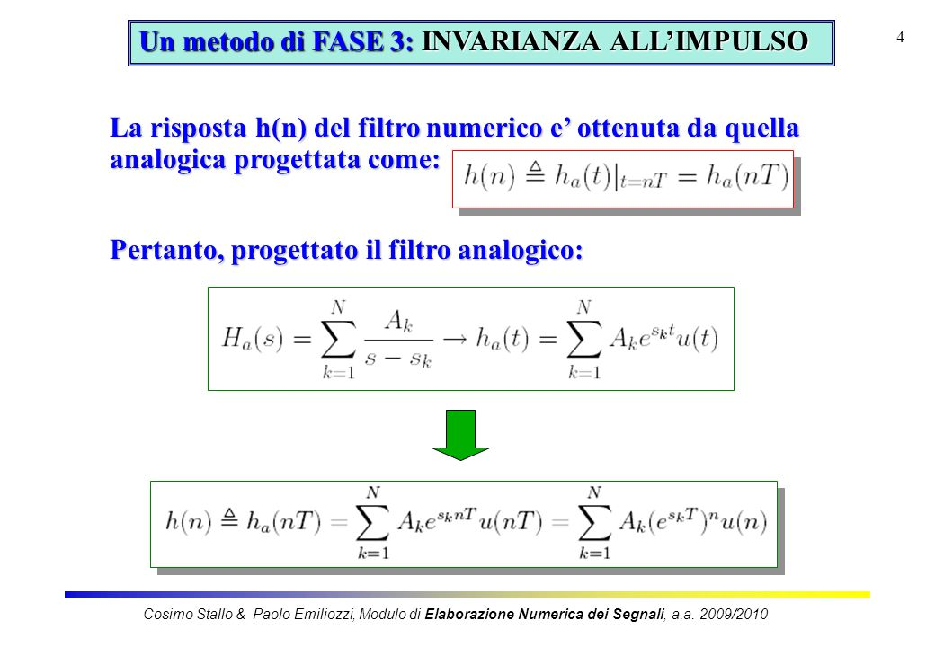Un metodo di FASE 3: INVARIANZA ALL'IMPULSO