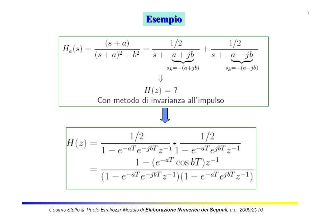Esempio + Cosimo Stallo & Paolo Emiliozzi, Modulo di Elaborazione Numerica dei Segnali, a.a.