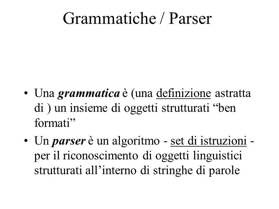 Grammatiche / Parser Una grammatica è (una definizione astratta di ) un insieme di oggetti strutturati ben formati